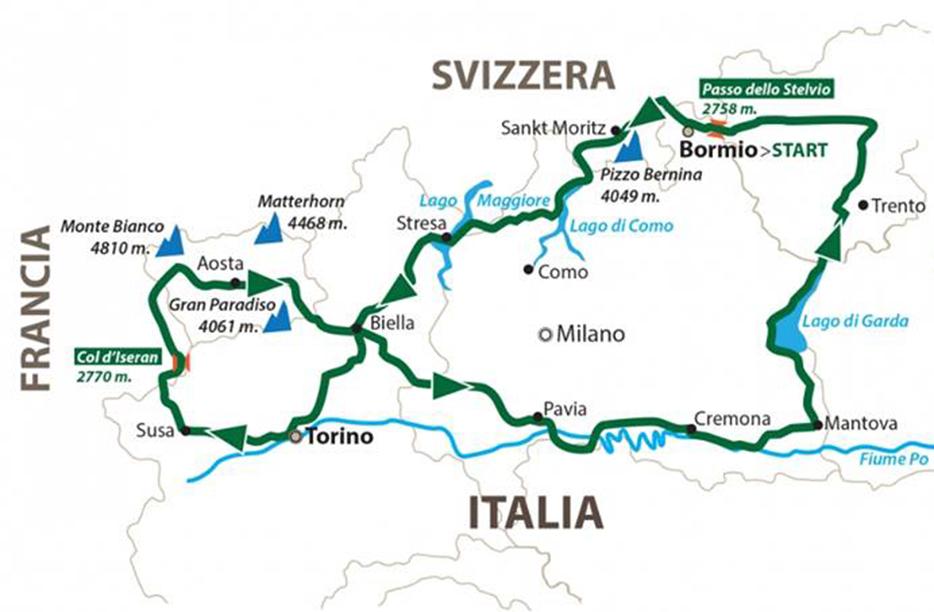 La cartina con il percorso della Alpi4000