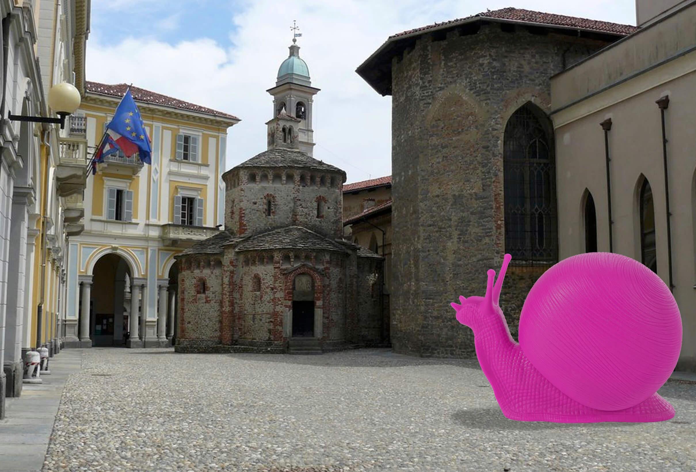 La simulazione dell'installazione della Cracking Art davanti al Battistero