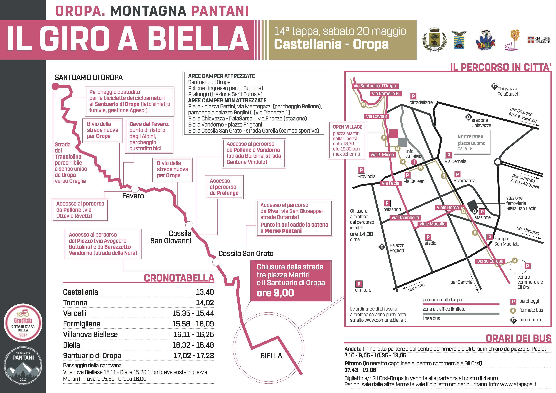Il pieghevole con le informazioni sulla tappa del Giro d'Italia