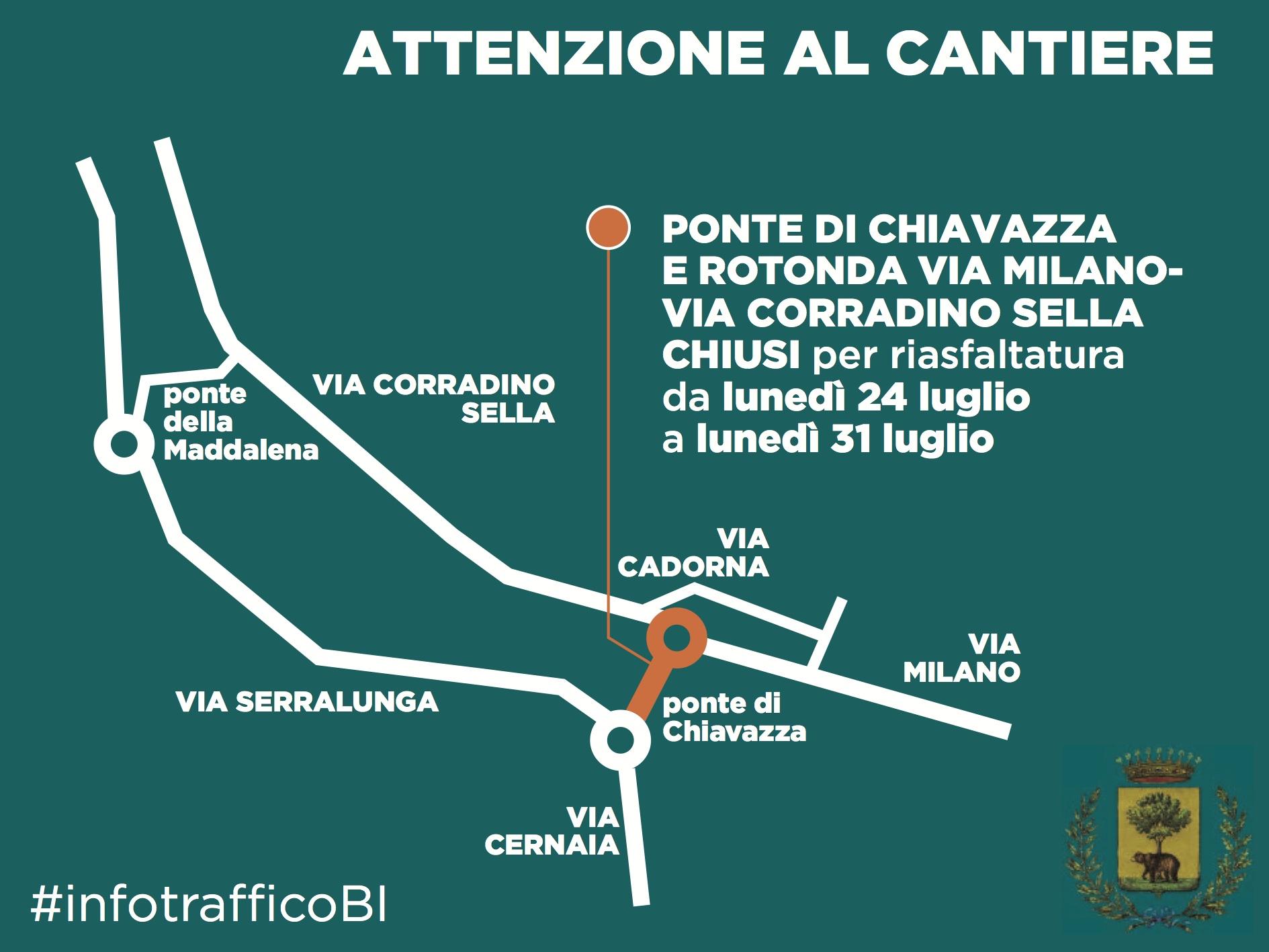 La mappa della chiusura del ponte di Chiavazza e dei percorsi alternativi