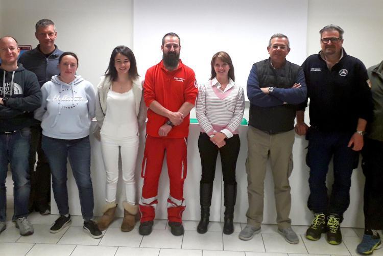 I partecipanti al corso per l'uso del defibrillatore