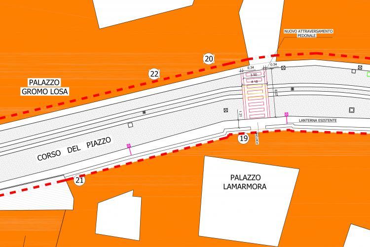 Il disegno dell'attraversamento pedonale davanti a palazzo La Marmora