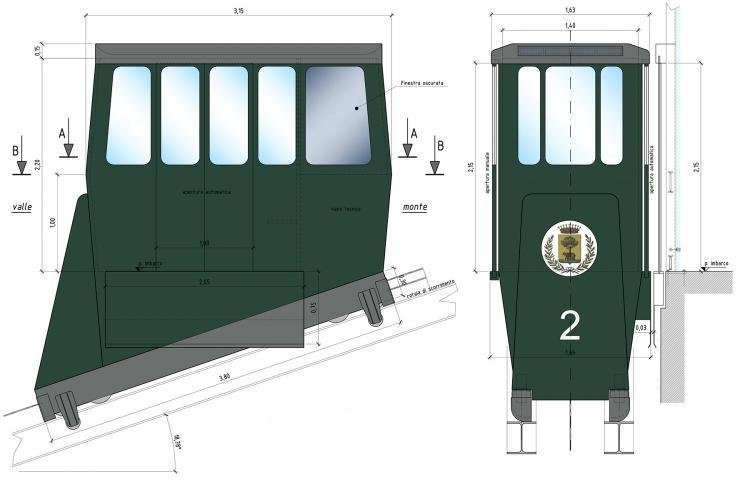 L'aspetto delle cabine della nuova funicolare del Piazzo nel progetto definitivo