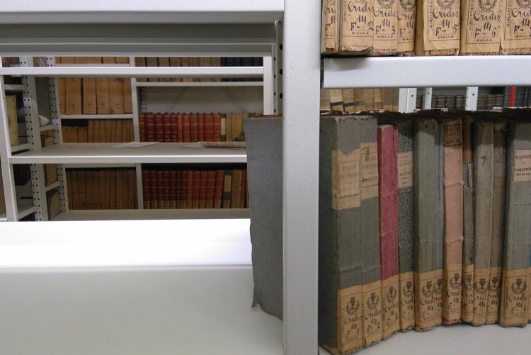 Uno scaffale della Biblioteca Civica