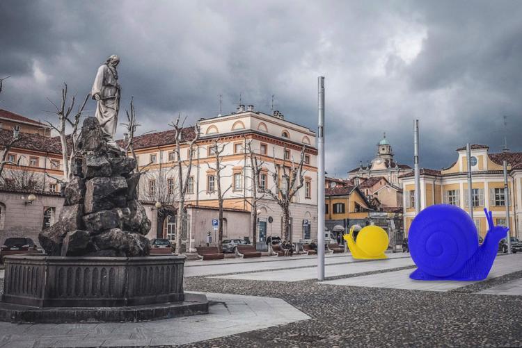 La simulazione dell'installazione della Cracking Art in piazza Duomo (Elaborazione grafica da un'immagine di Andrea Battagin)