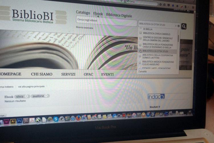 La schermata di ricerca del portale del polo bibliotecario