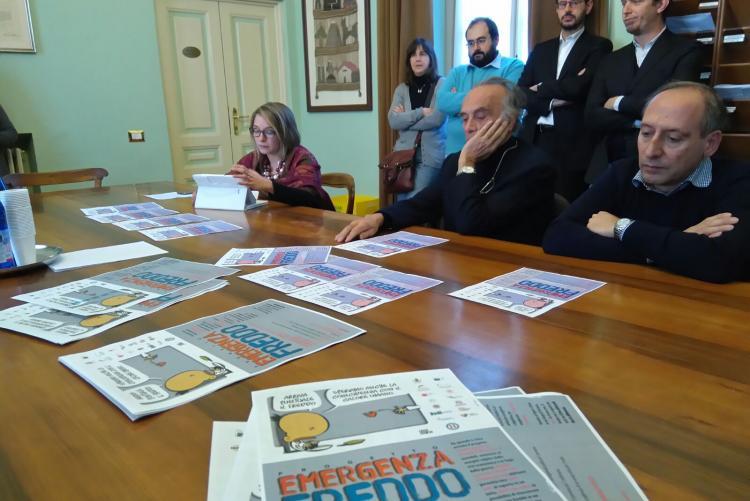La conferenza stampa di Emergenza Freddo nel 2016