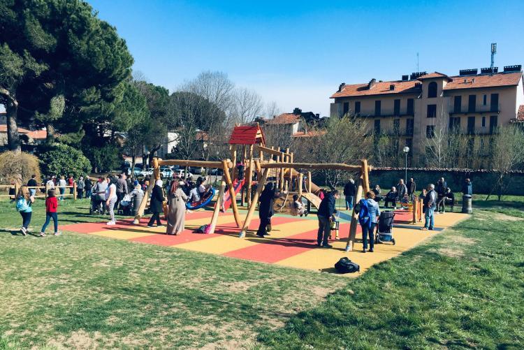 L'area giochi del nuovo giardino di Chiavazza