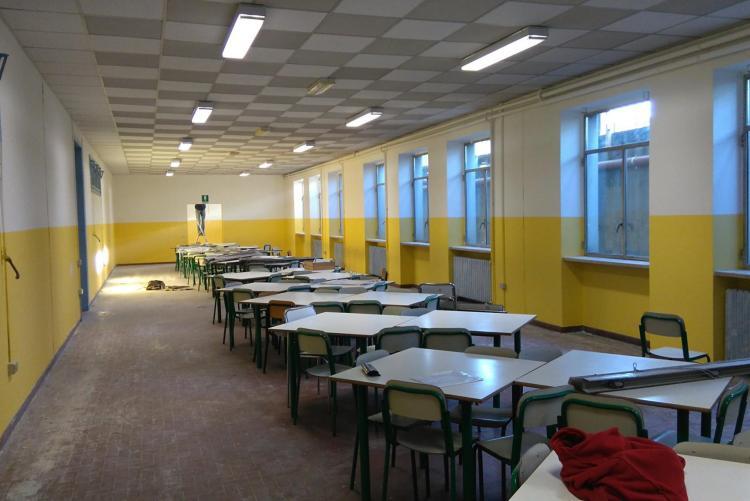 Lo spazio mensa della Gromo Cridis dopo la ritinteggiatura