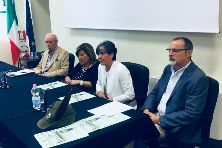Da sinistra Tomaso Vialardi di Sandigliano, Annunziata Gallo, Teresa Barresi e Marco Fulcheri alla presentazione della commemorazione per Costantino Crosa