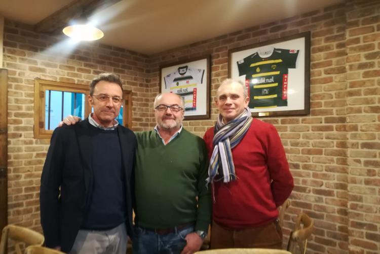 Il responsabile dell'ufficio tecnico Patergnani, il presidente del Biella Rugby Musso e l'assessore Leone