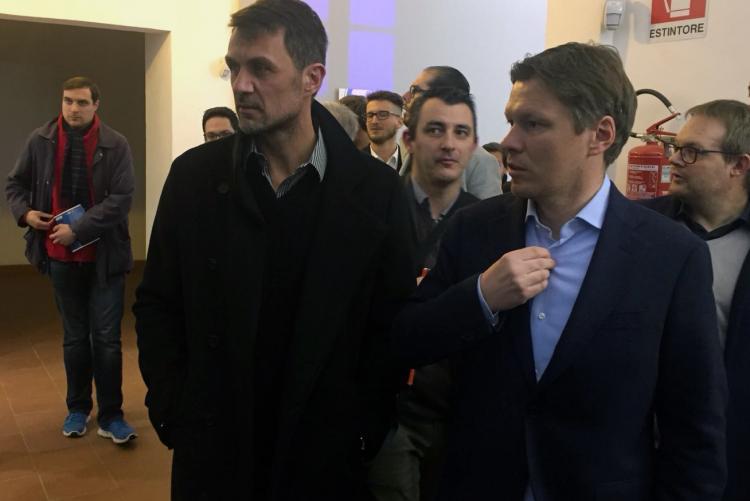 Paolo Maldini e Alessandro Alciato alla presentazione della mostra
