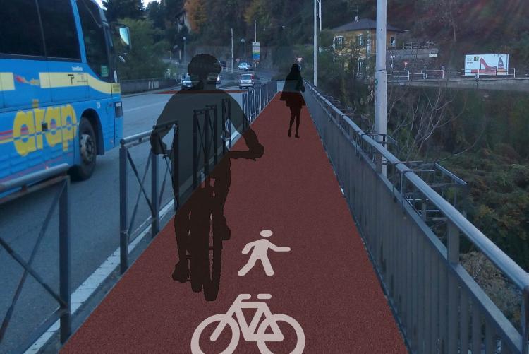 La simulazione del tracciato ciclopedonale sul ponte di Chiavazza