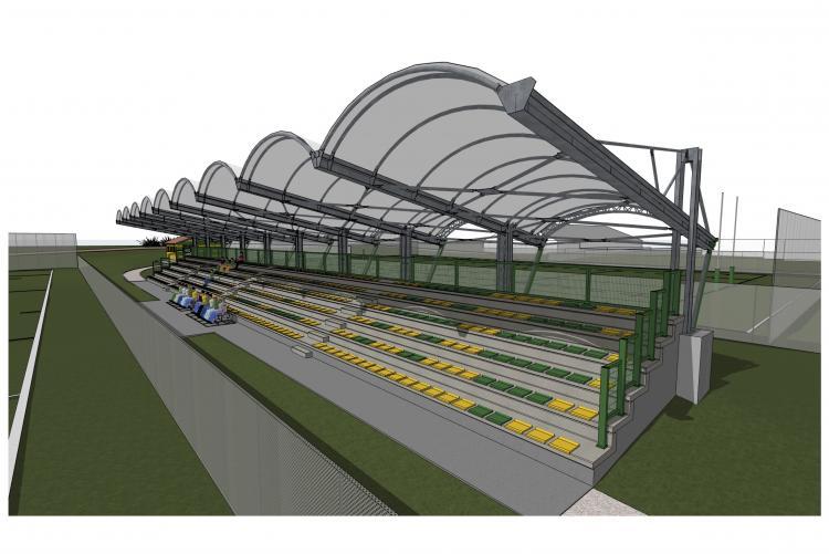 Il disegno della nuova tribuna dello stadio del rugby