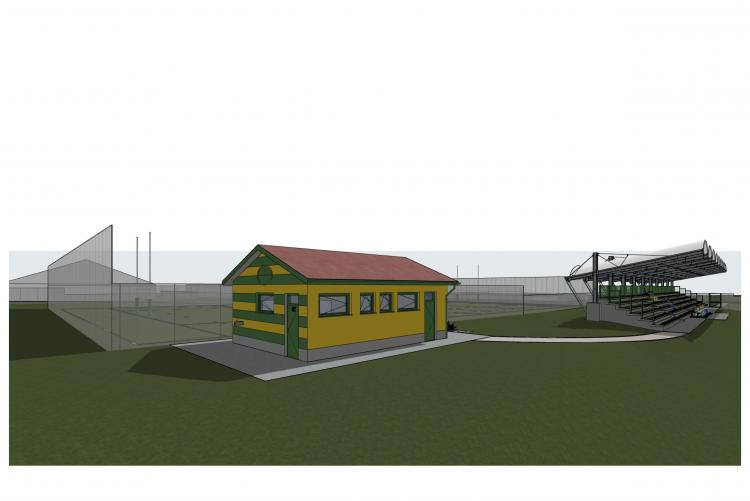 Il disegno della casetta per i servizi e la biglietteria e della tribuna dello stadio del rugby