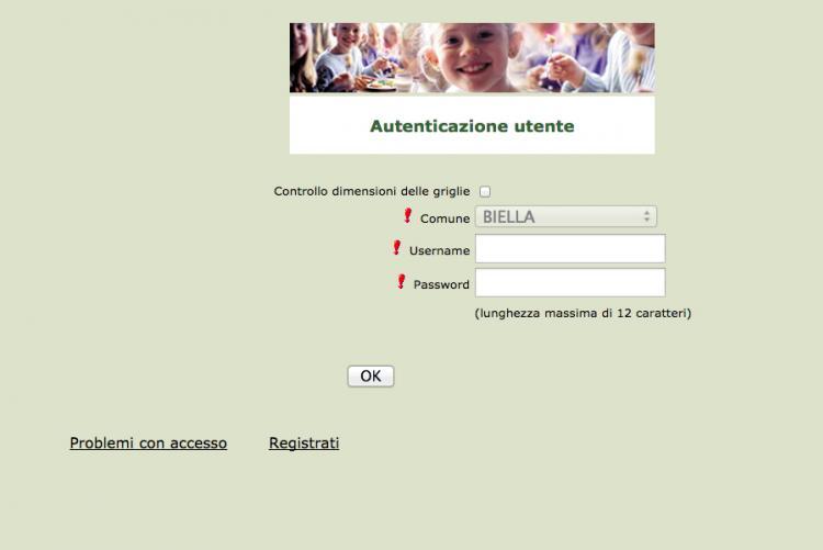 La pagina di accesso per l'iscrizione online al servizio di ristorazione scolastica