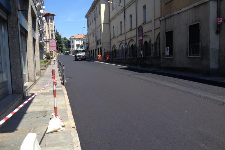 I lavori in corso in via Cavour