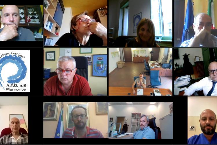 Uno scatto della videoconferenza di Ato2 Piemonte