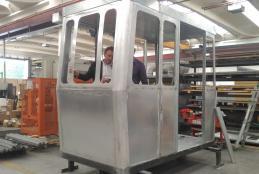 Una delle nuove cabine della Funicolare in costruzione