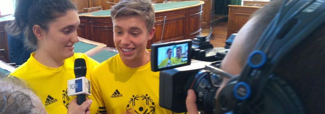 Andrea Ferraro e Rubina Morovich, atleti e testimonial dei giochi Special Olympics, intervistati da Rai3