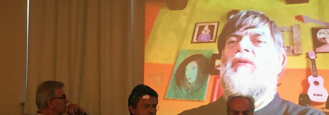 Jacopo Fo in collegamento alla conferenza stampa di presentazione