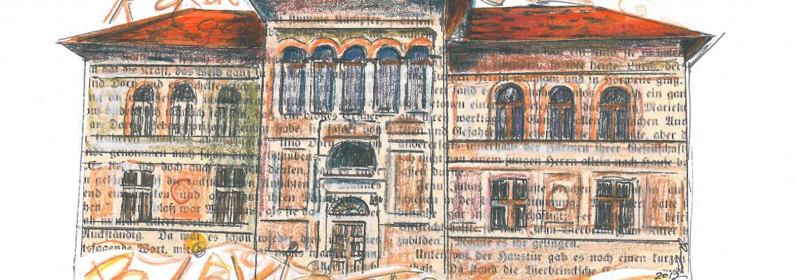 Un disegno della Palazzina Piacenza