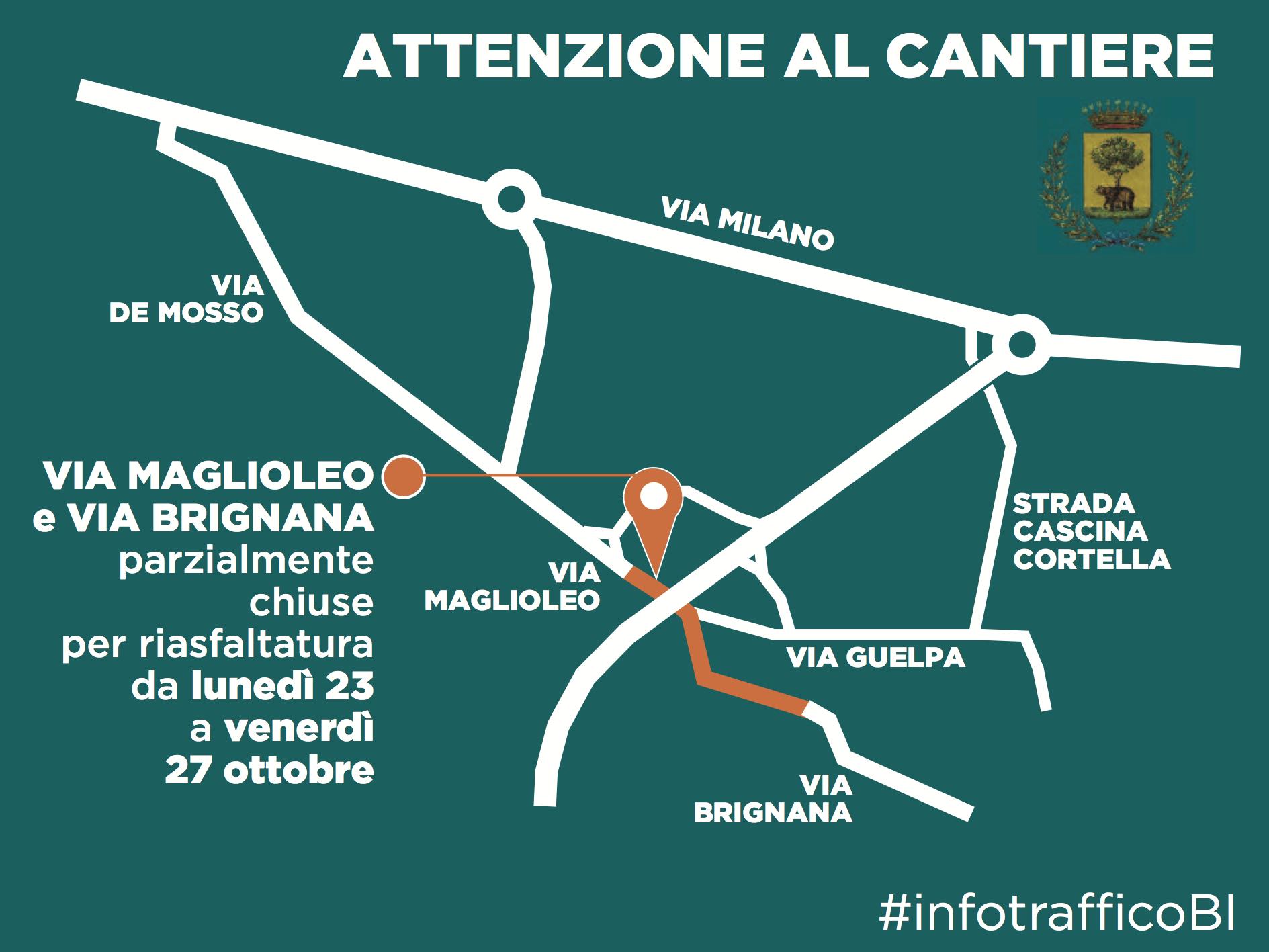 La mappa della chiusura in via Maglioleo e via Brignana