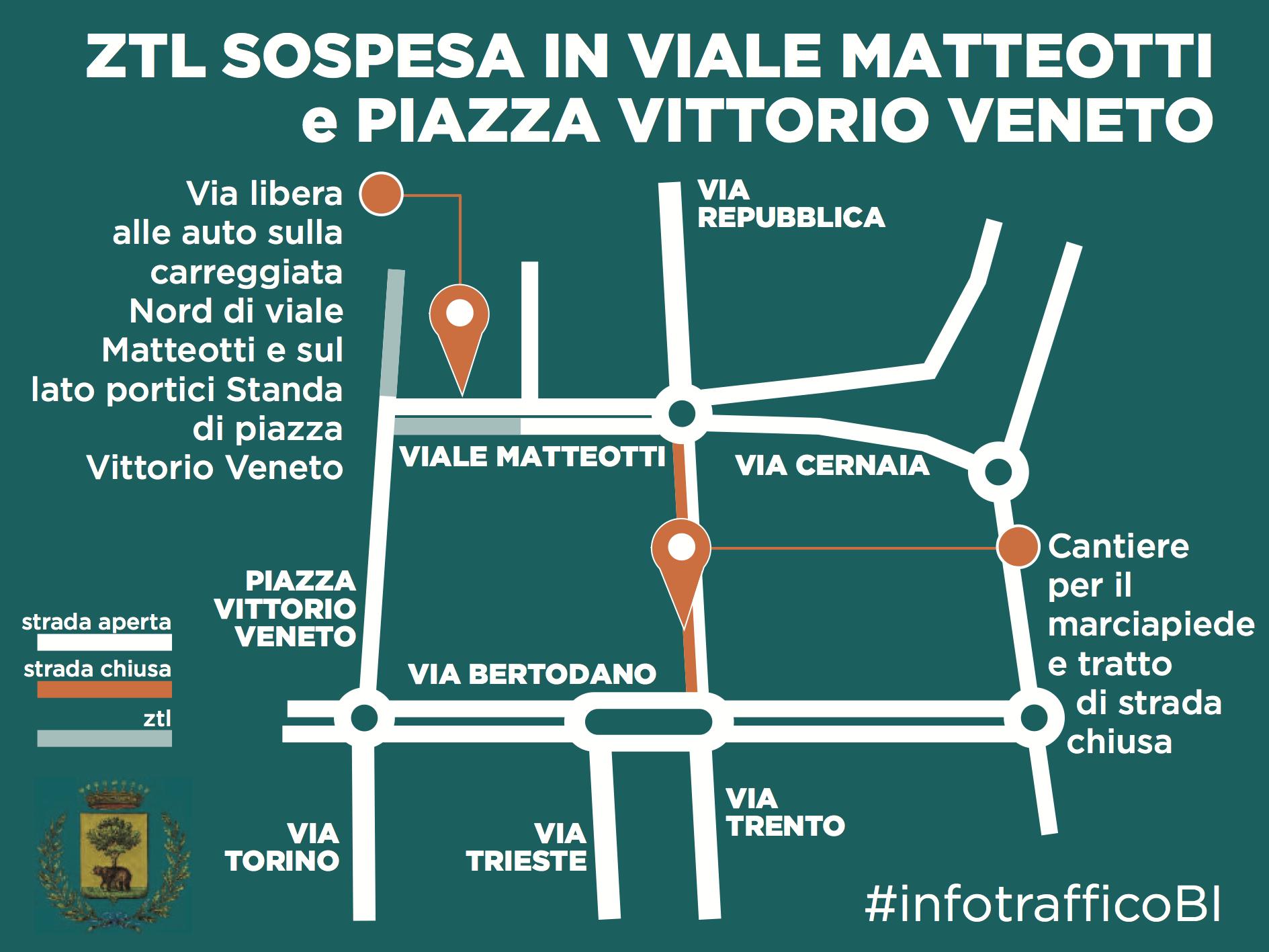 La mappa delle variazioni alla ztl in viale Matteotti e piazza Vittorio Veneto