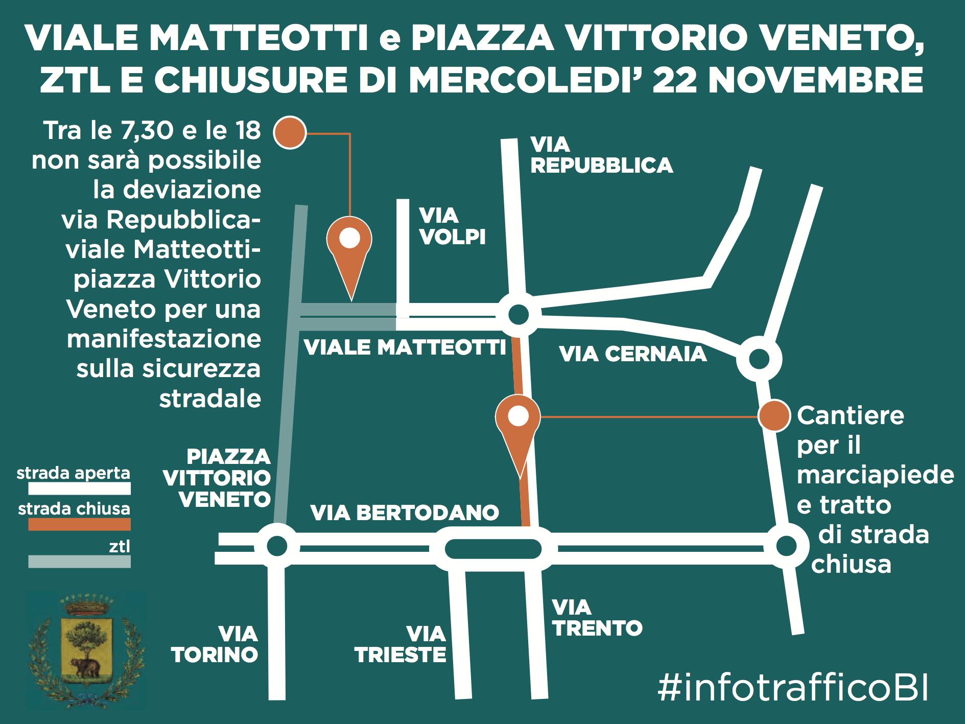 La mappa della zona via Repubblica-viale Matteotti per il 22 novembre